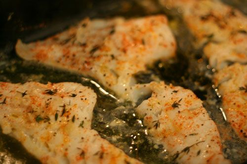 Baked Lemon Herb Cod Recipe Main Dishes with cod fillets, lemon juice, extra-virgin olive oil, garlic, fresh thyme, sea salt, pepper, hungarian paprika