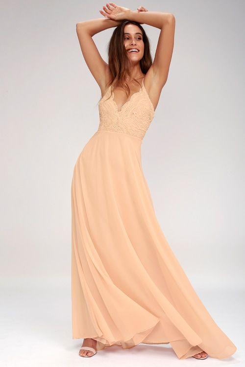 47c18cdd6c9 Pretty Blush Maxi Dress - Lace Maxi Dress - Bridesmaid Dress