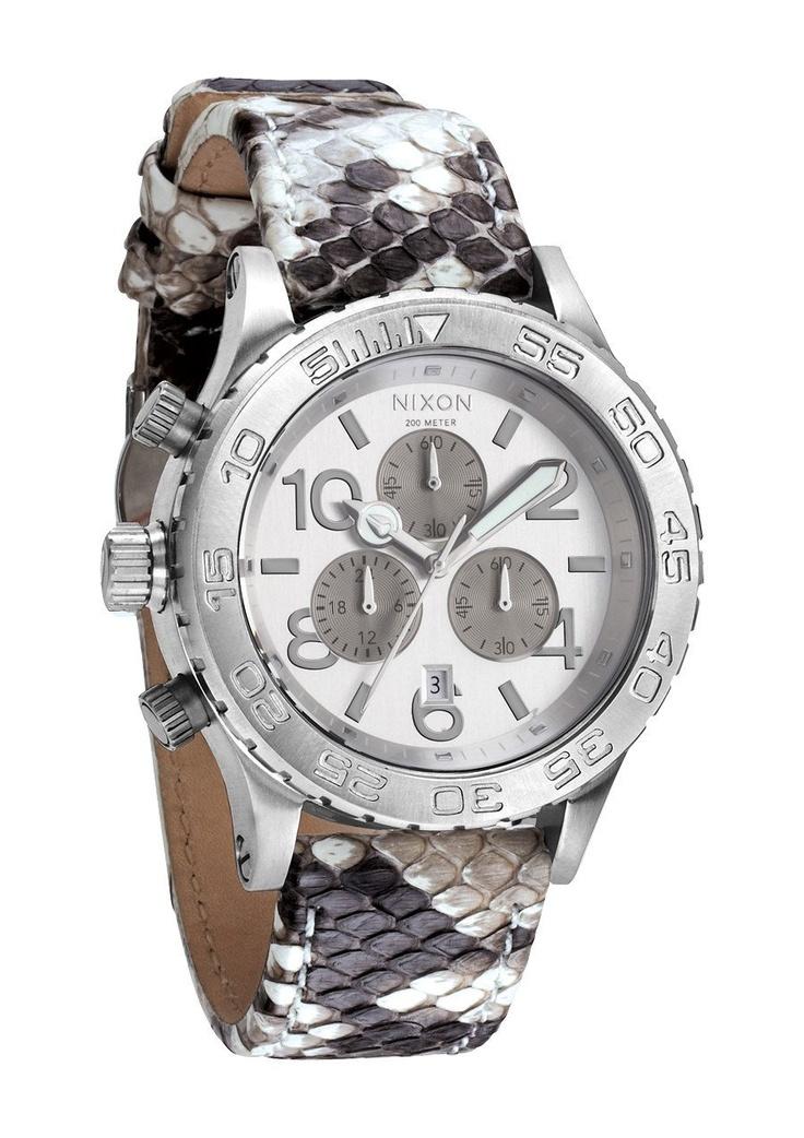 Nixon Chrono Watch White Snake, One Size $319.95 http://amzn.com/B00A1XGAP0 #NixonWatch