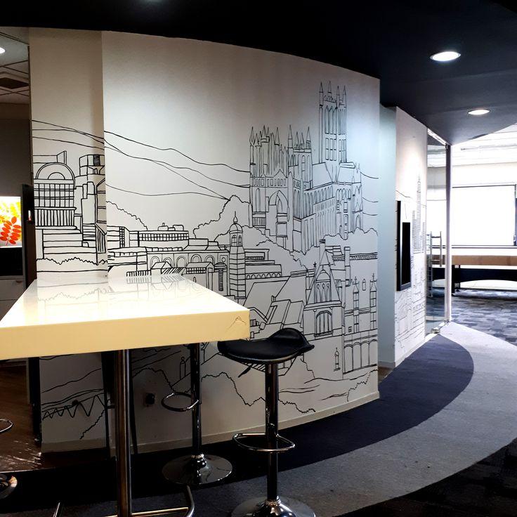 Mural, Jasa Mural, Dekorasi Mural, Mural Line Art, Mural Hitam Putih, Mural Kantor, Mural Coworking Space-Mural by iMural