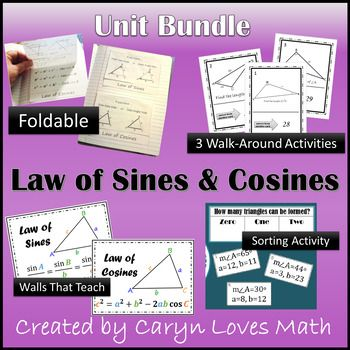 This bundle help teach the Trig formulas Law of Sines and Law of CosinesI use it in my HS Geometry Class but can also be used in Trigonometry and PreCal classes.Included in the bundle is1) Law of Sine and Law of Cosine Foldable~ For Oblique Triangles       This foldable is designed to help students decide when to use the law of sine and the law of cosine.