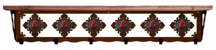 Red Jasper Stone on Burnished Steel 6 Hook Metal Wall Shelf 42 inch (SW5768) - A genuine Red Jasper stone set on a burnished steel decorative plate is the design of this unique wall shelf with 6 hooks. Made of heavy 12 gauge recycled steel, it has 6 hooks and a wood shelf in your choice of natural alder wood or natural pine. Available in 3 finish choices - natural rust patina, blackened iron patina, or copper verdigris patina (see image below). Measures 7 inches wide x 8-1/2 inches high x 42…