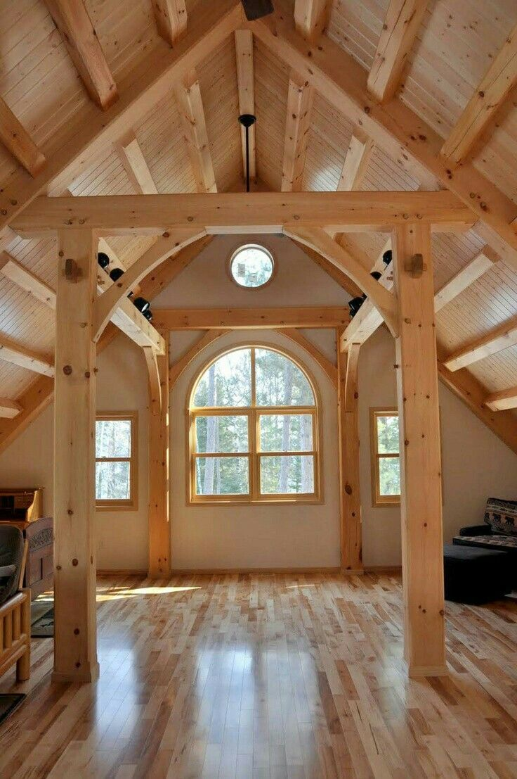 My Preferred Wood For A Timber Frame Home    Light And Cheery. Timber Frames  Hold The Structure Of The Building And The Space Between The Timbers Can Be  ...