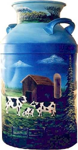 Wisconsin Farm is hand painted on this vintage Milk Can. Nice.
