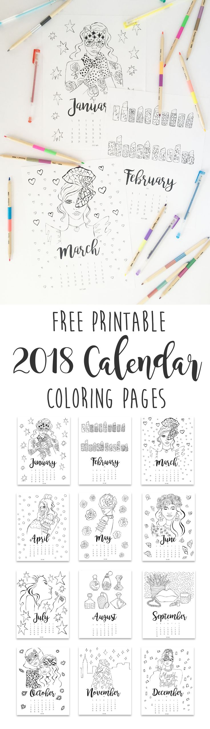 Free Printable 2018 Calendar coloring pages