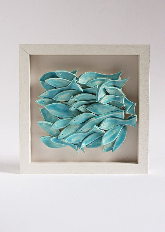 ceramic wall art fish tile sculptural pottery wall by karoArt, €88.00