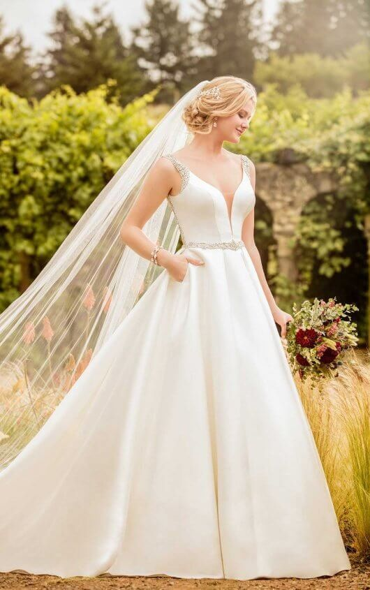 D2479 Beaded Backless Wedding Gown by Essense of Australia