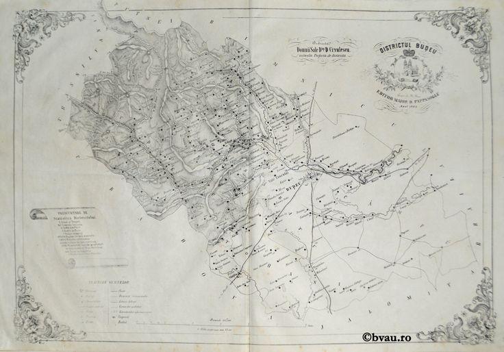 """Districtul Budeu, întocmit şi editat de Maior D. Pappasoglu, 1864. Imagine din colecțiile Bibliotecii """"V.A. Urechia"""" Galați."""