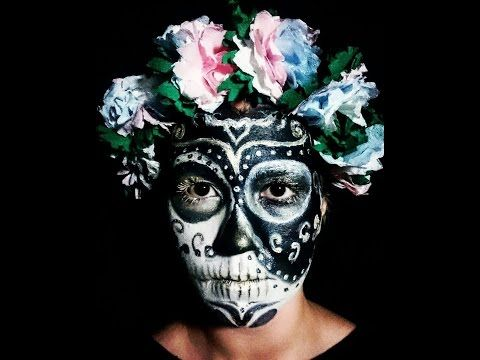"""The exercise of death is combined with the two opposing entities that come together and create the whole"" hello pumpkins , here's my new makeup the yin yang sugar skull. Watch more on my channel I hope you like The  #makeuptutorial #papperflowers #flowers #black #white #yinyang #sugarskull #eyes #face #likeit  #subscribe"