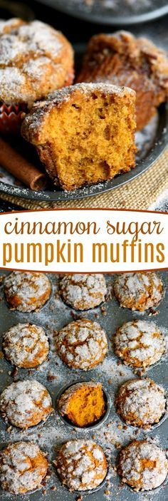 Say hello to fall with these delicious Cinnamon Sugar Pumpkin Muffins! Exceptionally moist, surprisingly light, and entirely irresistible! Great for breakfast, brunch, or an after school snack. // Mom On Timeout