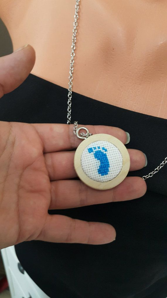 Blue Baby Gender Reveal Pinback necklace / by SpecialFabrics