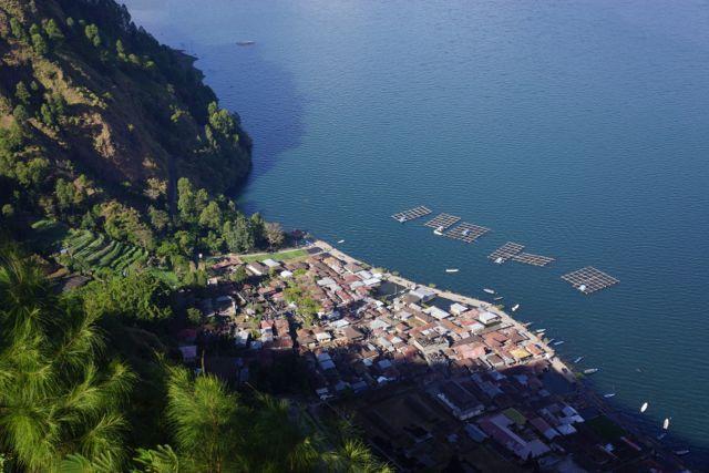 The fascinating village of Trunyan at Lake Batur Bali. Its a long steep trek down from the top of the caldera.