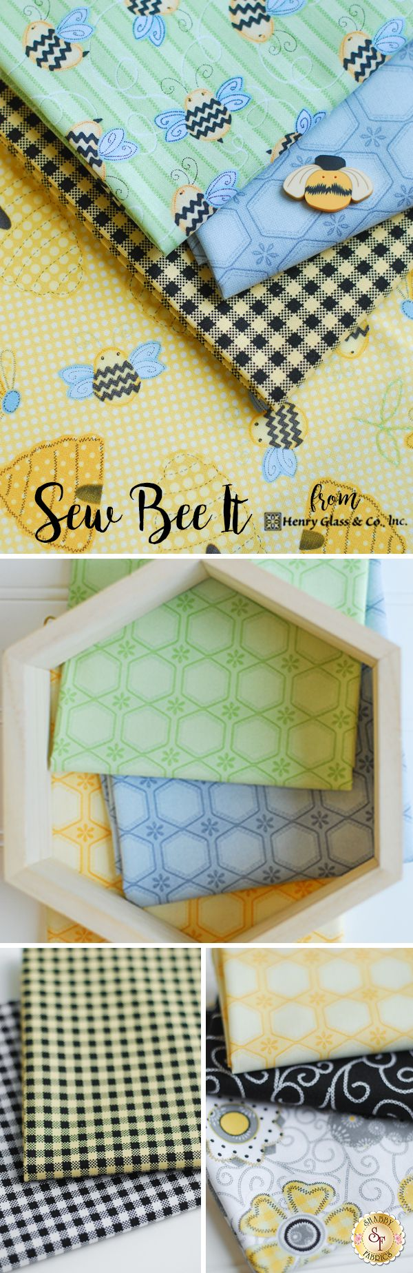 Sew Bee It - Henry Glass Fabrics The Sew Bee It fabric collection from Henry Glass Fabrics is fun and playful with whimsical images of bees and honeycombs. Designed by Shelly Comiskey, Sew Bee It features images of sunflowers, bees buzzing around honeycombs, and adorable plaids. This line features blacks, yellows, whites, and greens creating a stunning combination.