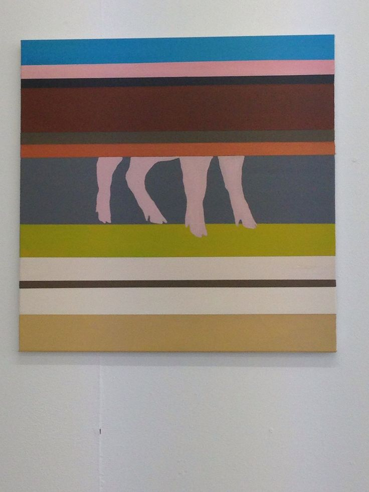 A pig in stripes. Abstrakt painting - artist Kathrine van Godt