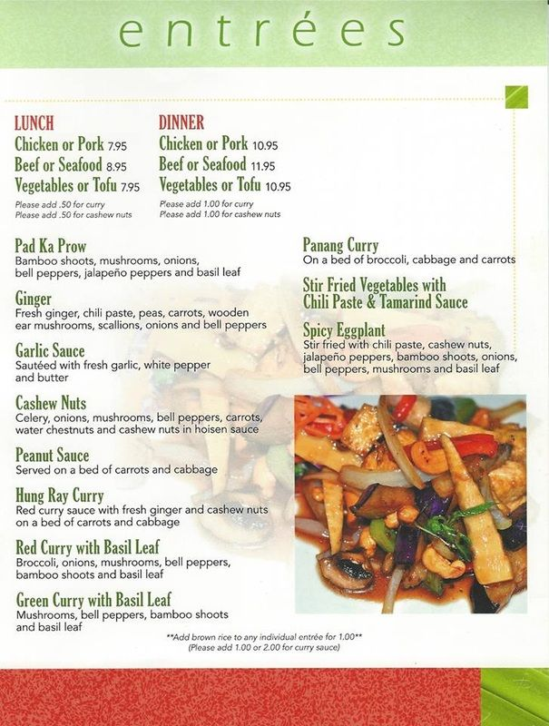 Menu - Jasmine Thai Restaurant
