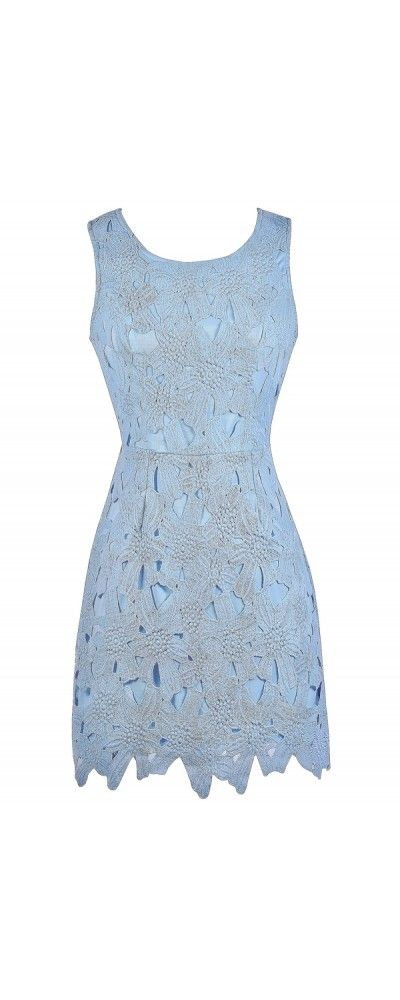 Lily Boutique Mary Oversized Floral Lace Sheath Dress in Sky Blue.