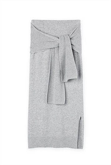 Tie Front Knit Skirt