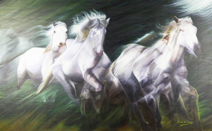 he escogido esta obra de Javier de Juana llamada Manada de Caballos porque representa claramente el movimiento de esos animales.