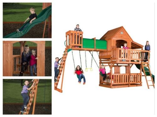 Swing-Sets-For-Backyard-Wood-Playground-For-Kids-Outdoor-Permanent-Playhouse-Kit