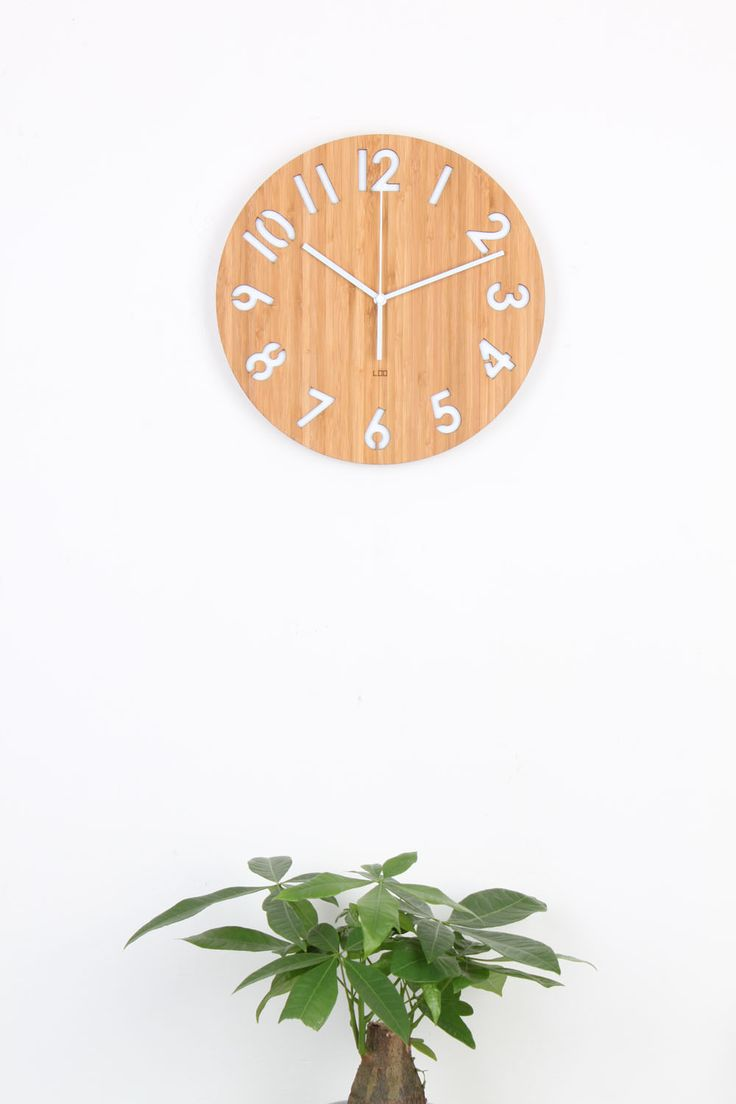 Number Modern Wall Clock Made by Bamboo