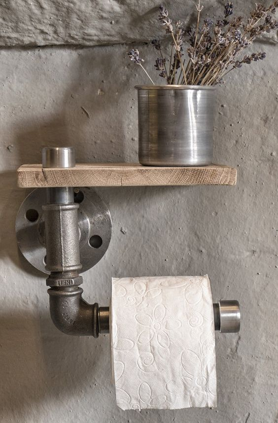 Industrial rustic bathroom - industrial pipe toilet paper holder with shelf…