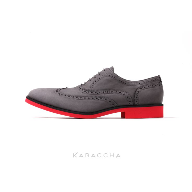 Kabaccha Shoes //  Nubuk Leather & Black/Red Sole Wingtip #KabacchaShoes #Wingtips