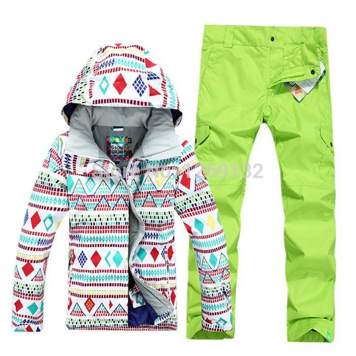 Blast Sale Free shipping Hot sale lady geometric shape snowboard ski suit jacket clothes sets pants windproof waterproof