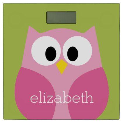 Cute Cartoon Owl - Pink and Lime Green Bathroom Scale - template gifts custom diy customize