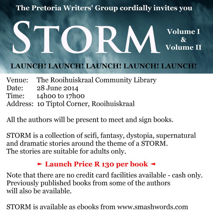 Invitation to STORM launch on 28 June. #anthology #fantasy #supernatural #scifi #drama #southafrican