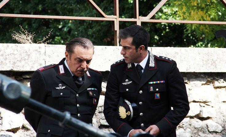 Shooting Don Matteo in Spoleto. Simone Montedoro as captain Guilio Tommasi and Nino Frassica as mareciallo Checchini.