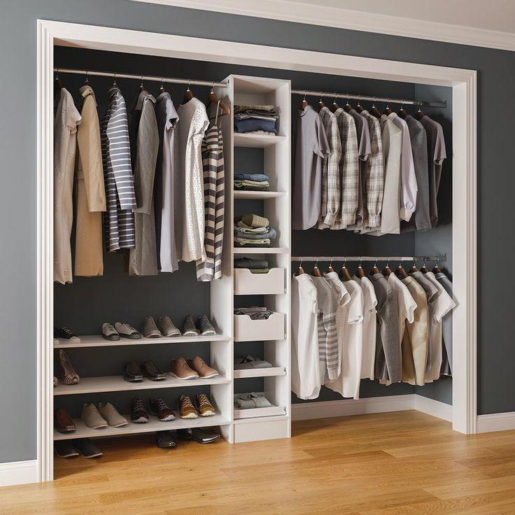 84 In H X 45 In To 105 In W X 15 In D Reach In Closet Kit In White Mens Closet Organization Closet Kits Best Closet Systems