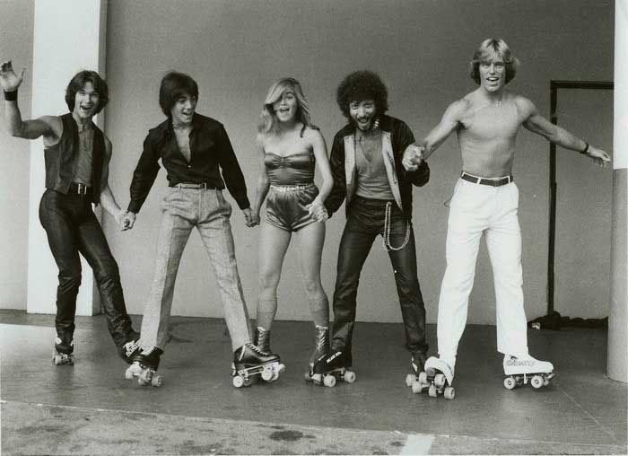 Patrick Sawyze, Scott Baio, Maureen McCormick, Ron Palillo and Greg Bradford on the set of Skatetown, U.S.A.