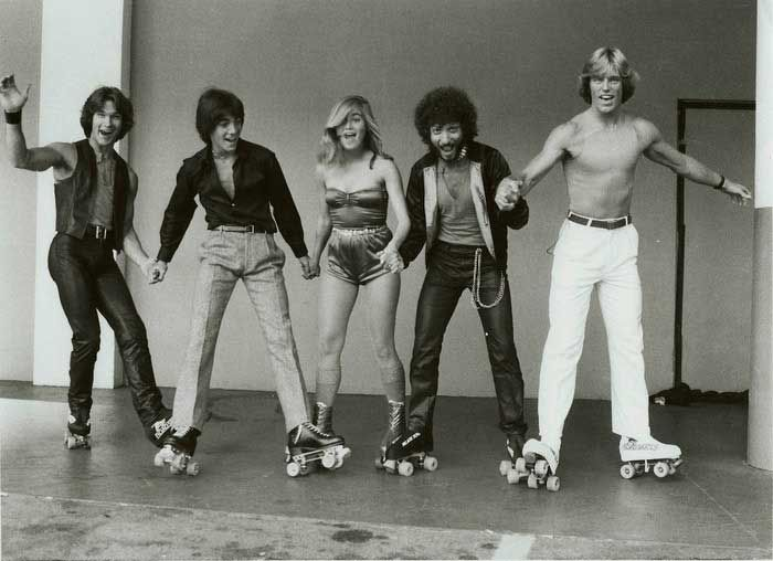 Patrick Sawyze, Scott Baio, Maureen McCormick, Ron Palillo and Greg Bradford on the set of Skatetown, U.S.A.