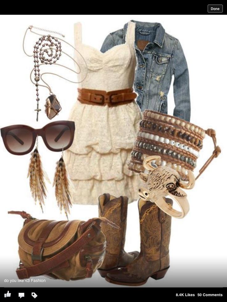 Cute summer outfit cowboy boots ahhhhh!!!!!   Cute summer ...