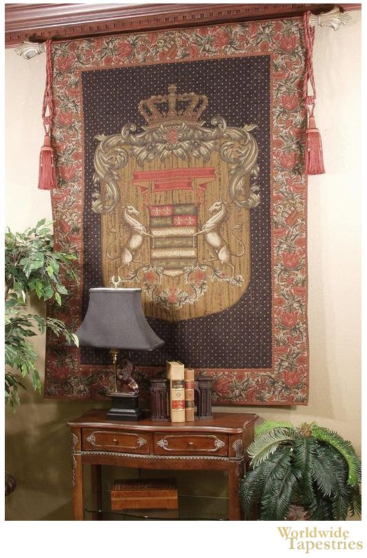 This Olde World Unicorn Crown tapestry shows a coat of arms showing two unicorns. Full of regality and elegance, this grand royal crest tapestry shows the beauty of family emblems. Here we see a central shield motif with fleur de lis, flanked by two stylish unicorns.