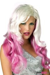 Cream and raspberry colored wig...yummy!