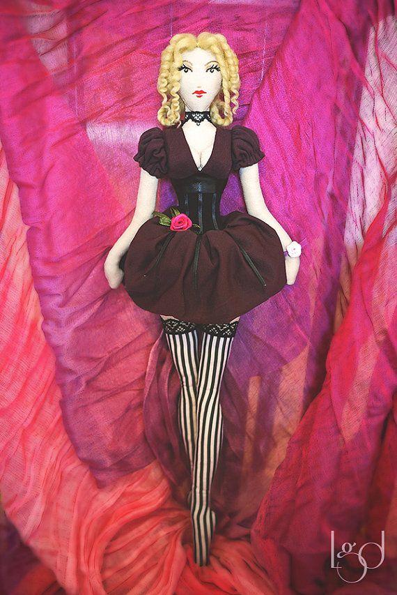 #Handmade #Fabric #Doll #Burlesque #Unique #Art #Doll #Rustic by LocoGlam