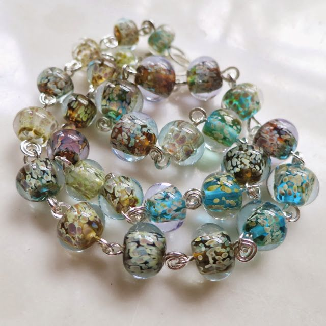 Lucinda Storms : Belvedere Beads - 'Cold Rain' necklace - lampwork glass and sterling silver