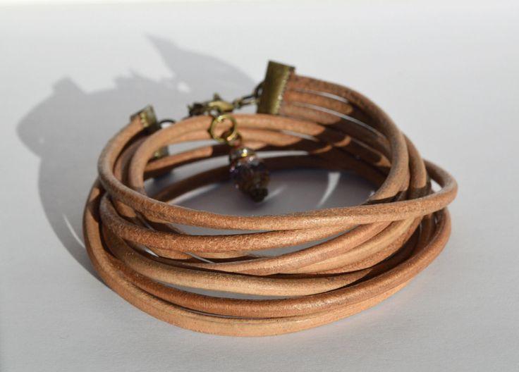 Handmade leather wrap bracelet, yoga jewelry, bohemian jewelry  https://www.etsy.com/ca/listing/504756575/handmade-brown-leather-wrap-bracelet