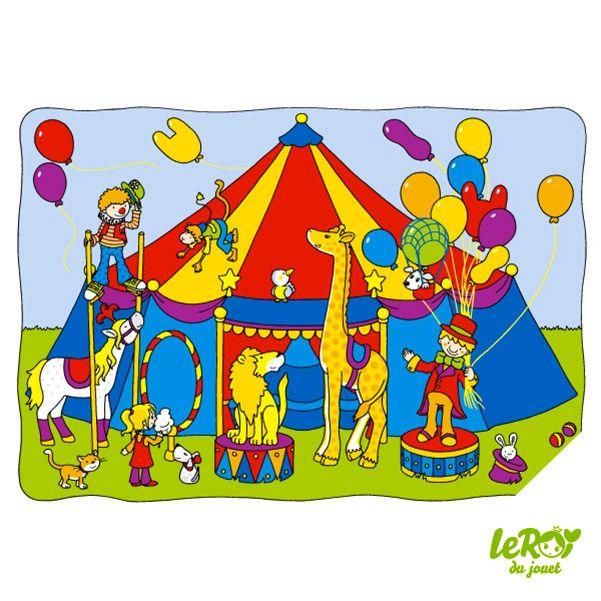 Puzzle à pousser spectacle de cirque en bois, clown, girafe, lion, cheval, singe, ballon, dresseur Leroy du jouet