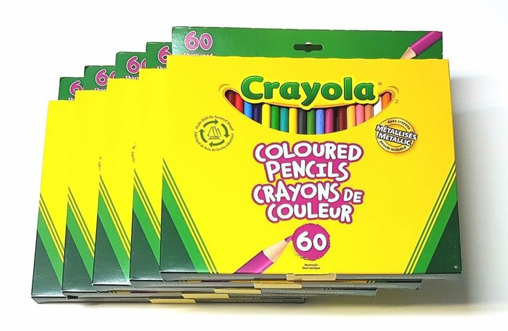 Lot of 5 Crayola 60 Sharpened Coloured Pencils (Pencil Crayons) - New | eBay