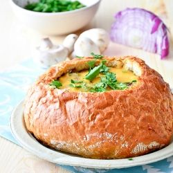 Spinach & Mushroom Omelet baked in a Bread Boule Recipe, Bread Bowls ...