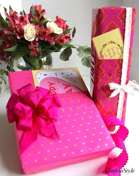 Pleated Paper Valentine's Gift Wrap by ConfettiStyle