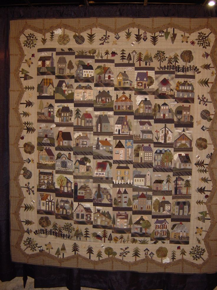 Houses on a Japanese quilt Houston quilt show 2014