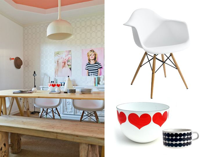 design attractor: Kaj Franck heart bowl, Eames chairs, Marimekko - styling by Kirsten Grove