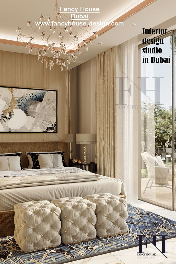 . Luxury stylish bedroom The master bedroom interior design is made by
