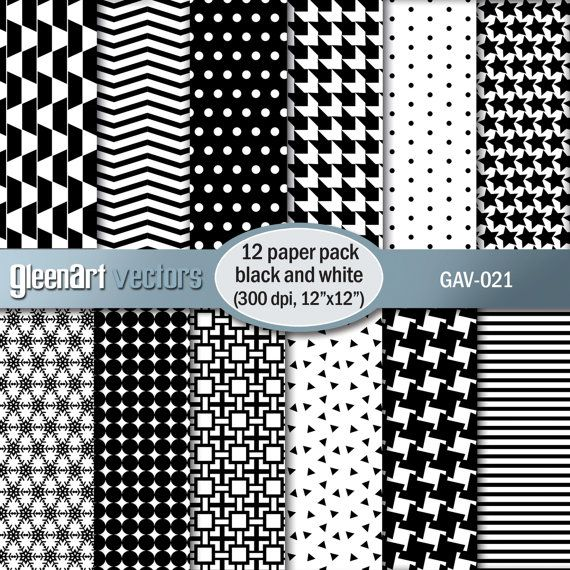 Black and white digital paper Geometric digital paper by GleenArt