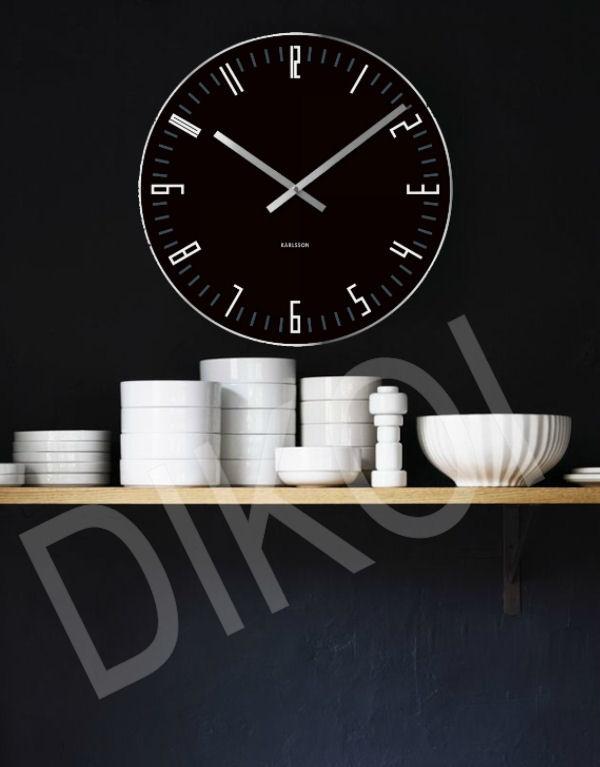 wandklok Slim Index zwart Materiaal: Glas. Diameter: 40cm. € 35,-