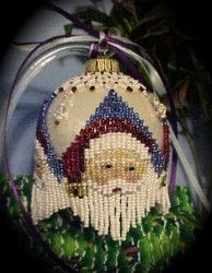 Beaded Santa Bells Christmas Ornament Cover