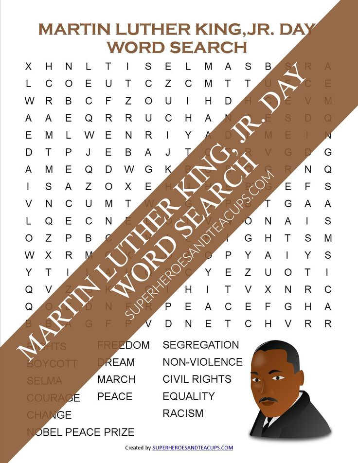 Martin Luther King, Jr. Day Word Search Free Printable
